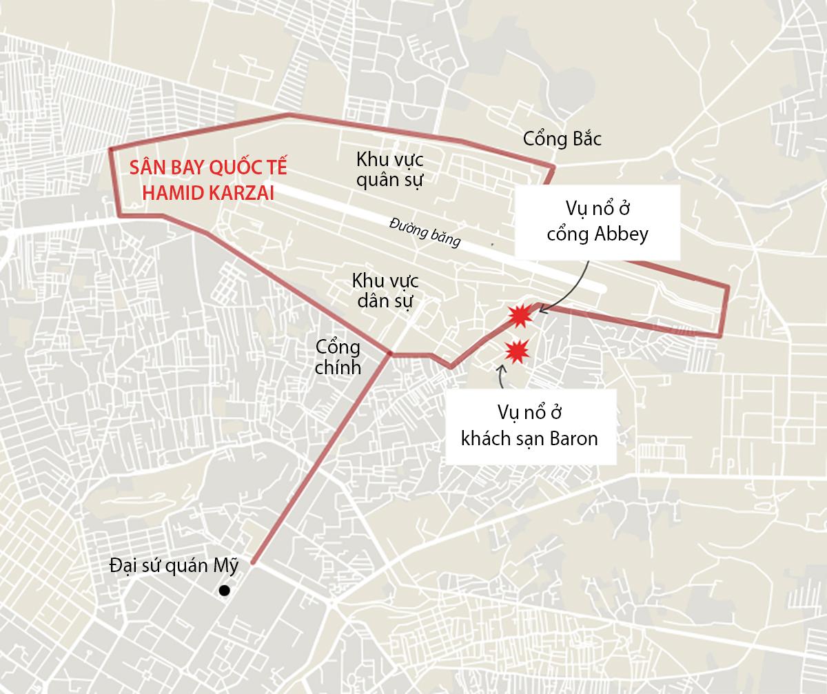Vị trí hai vụ đánh bom ở thủ đô Kabul, Afghanistan ngày 26/8. Đồ họa: Business Insider.