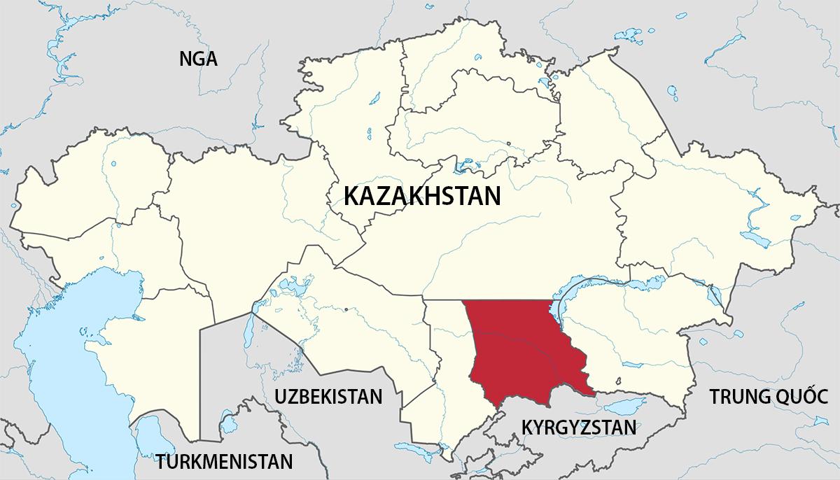 Vị trí tỉnh Jambyl của Kazakhstan (màu đỏ). Đồ họa: Wikimedia.