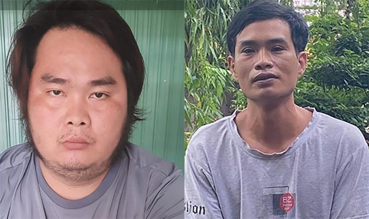 Nguyễn Hồng Cam (trái) và Trương Văn Báo tại cơ quan công an. Ảnh: An Phú