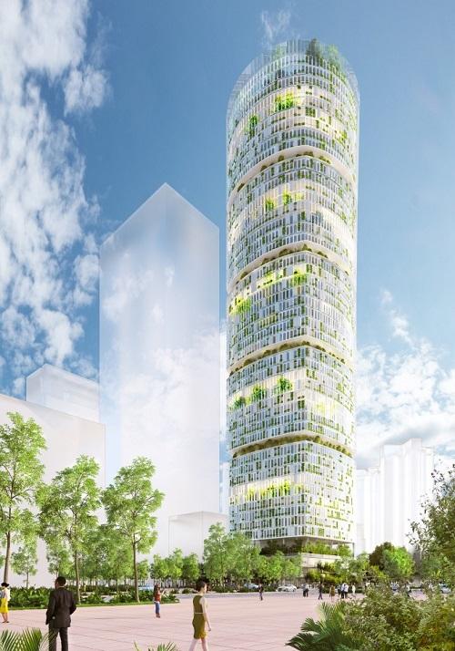 Mặt tiền của tòa nhà Farmscraper. Ảnh: Carlo Ratti Associati