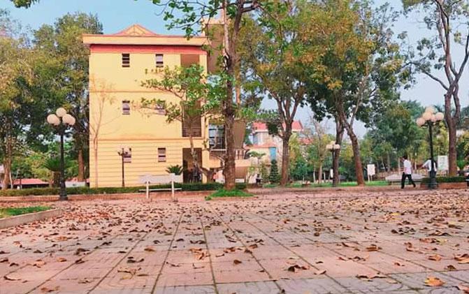 Một góc trường THPT Nông Cống 1. nơi cán bộ giáo viên đang cách ly. Ảnh: Lam Sơn