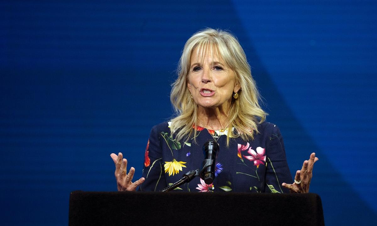Đệ nhất phu nhân Mỹ Jill Biden phát biển trong vòng chung kết đánh vần chính tả quốc gia tại Lake Buena Vista, bang Florida, ngày 8/7. Ảnh: Reuters