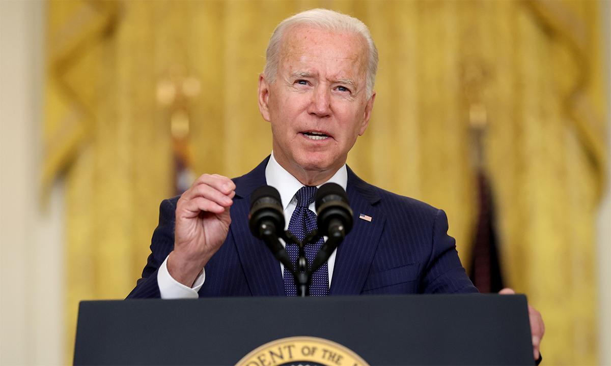 Tổng thống Mỹ Joe Biden trong cuộc họp báo tại Nhà Trắng ngày 26/8. Ảnh: Reuters.