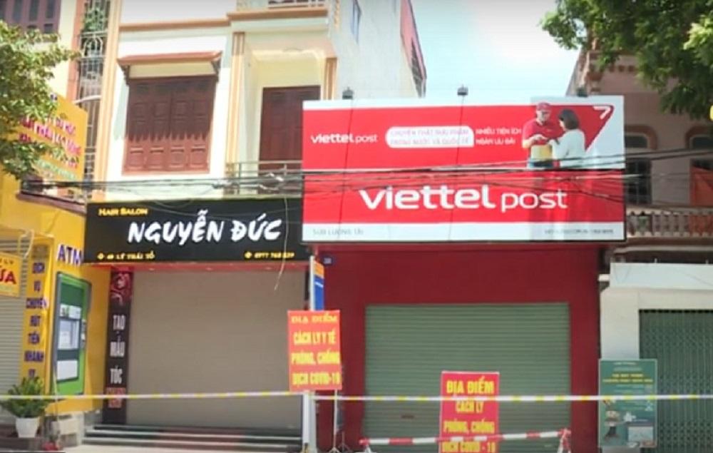 Chi nhánh Viettel Post ở huyện Lương Tài, nơi có 8 nhân viên dương tính. Ảnh: Công an Bắc Ninh.