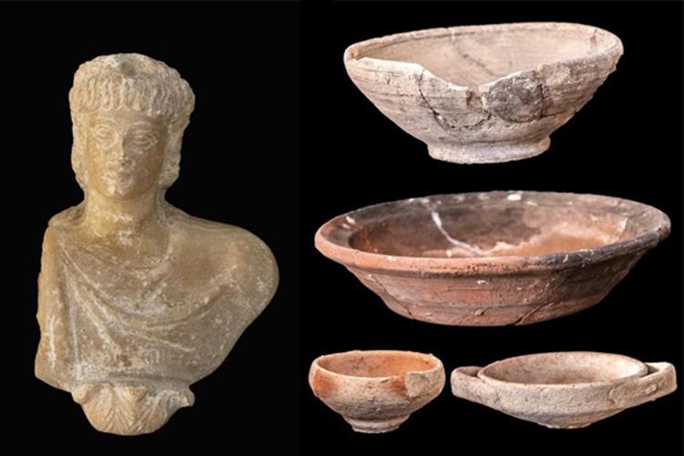 Một số hiện vật được khai quật trong khu định cư. Ảnh: Ahram