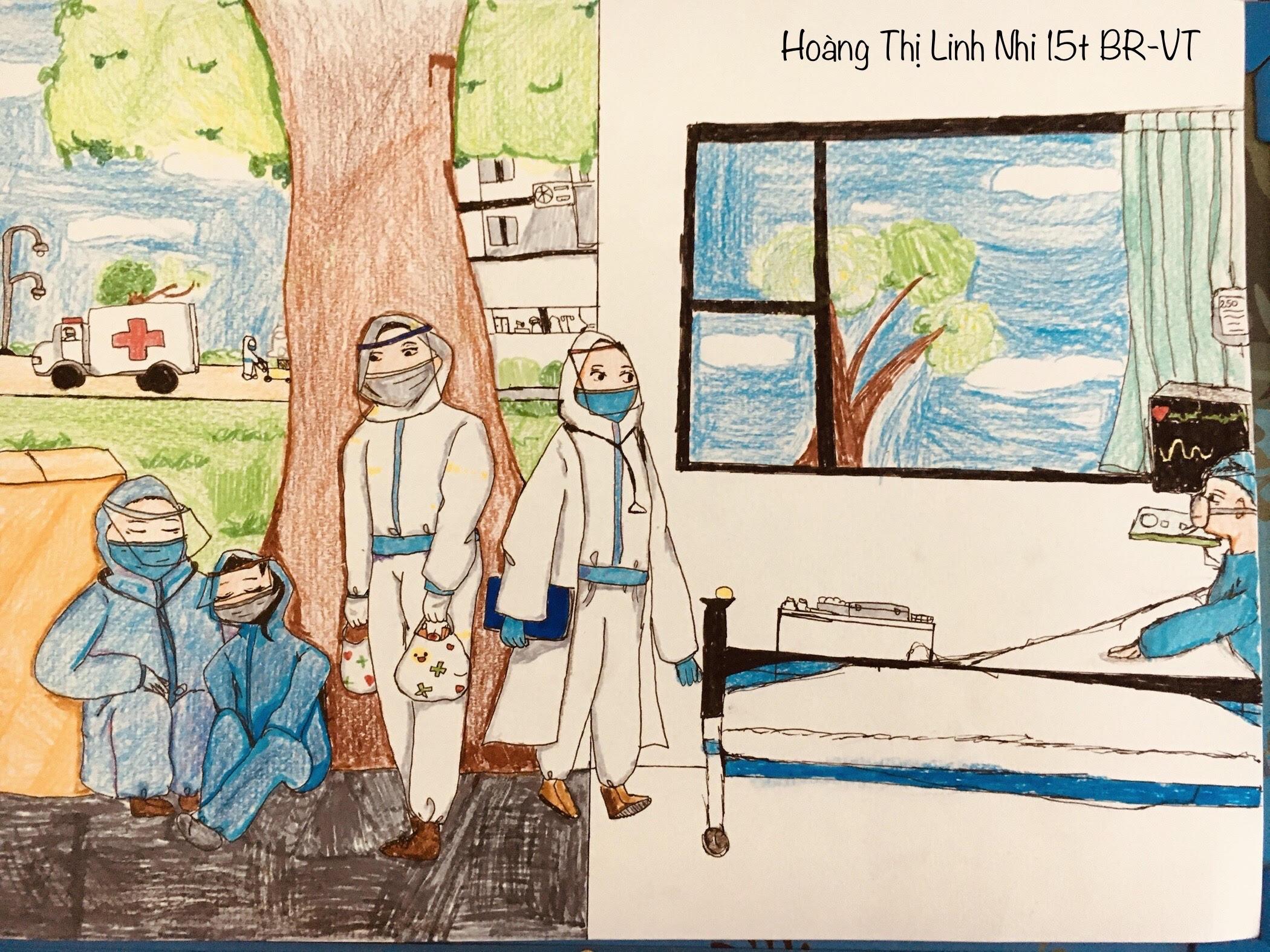 Bức tranh của em Hoàng Thị Linh Nhi, 15 tuổi, ở Bà Rịa-Vũng Tàu gửi về cuộc thi. Bức tranh mô tả