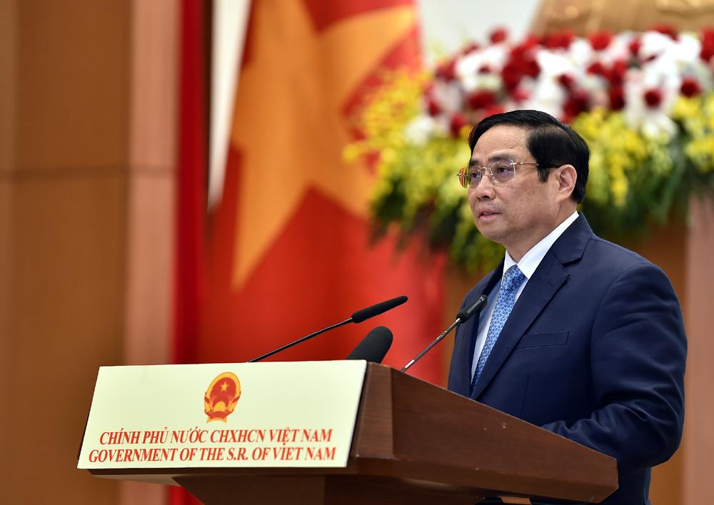 Thủ tướng Phạm Minh Chính phát biểu tại lễ kỷ niệm trực tuyến 76 năm ngày Quốc khánh, sáng 1/9. Ảnh: Nhật Bắc