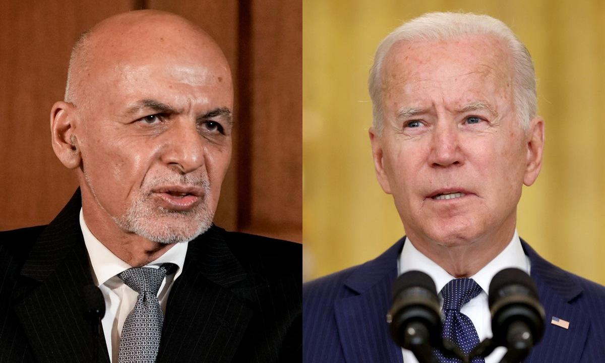 Tổng thống Ghani (trái) và Tổng thống Biden. Ảnh: Reuters.