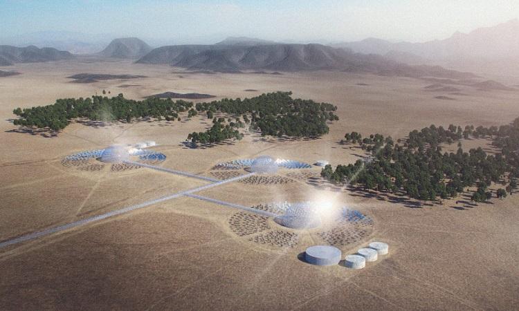 Thiết kế của nhà máy vòm mặt trời. Ảnh: Solar Water