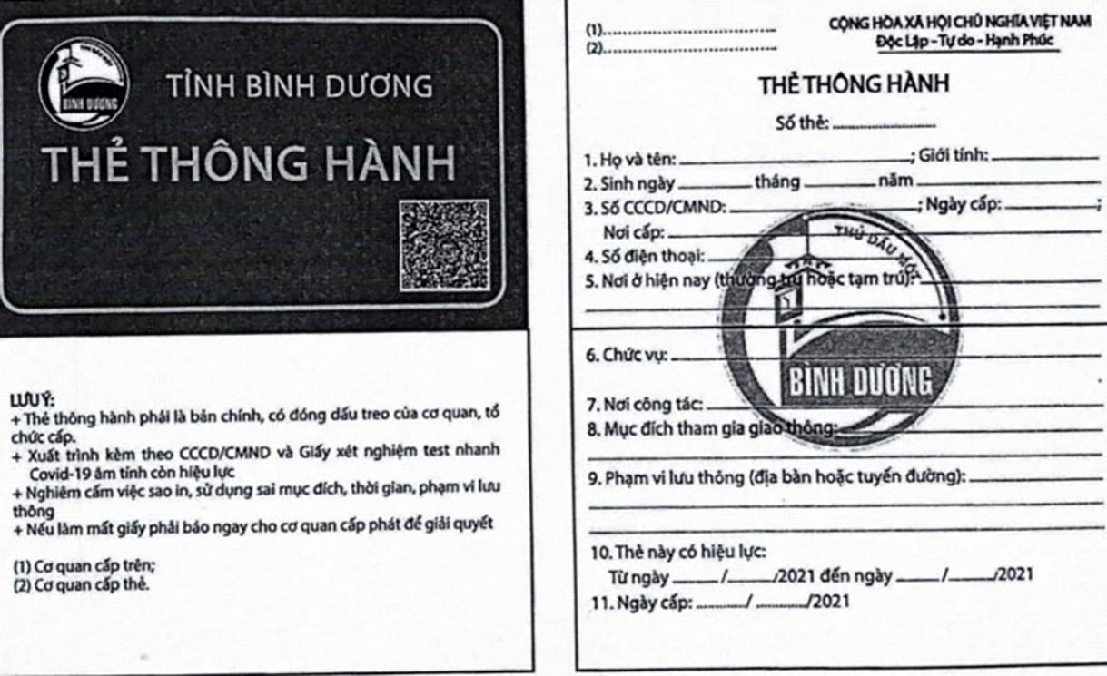 Mẫu giấy thông hành do UBND tỉnh Bình Dương ban hành. Ảnh: UBND tỉnh Bình Dương