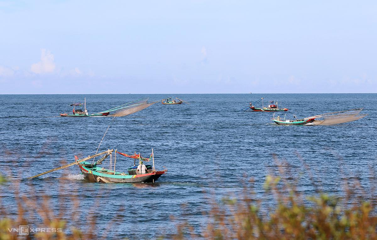 Thuyền đánh bắt ruốc tấp nập gần bờ biển xã Thạch Hải, huyện Thạch Hà hôm 2/9. Ảnh: Đức Hùng