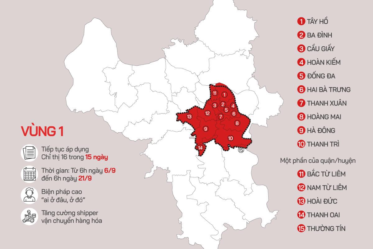Khu vực vùng đỏ Hà Nội được kiểm soát ra vào bởi 39 chốt trực (click xem ba phân vùng chống dịch của Hà Nội). Đồ họa: Tiến Thành - Võ Hải