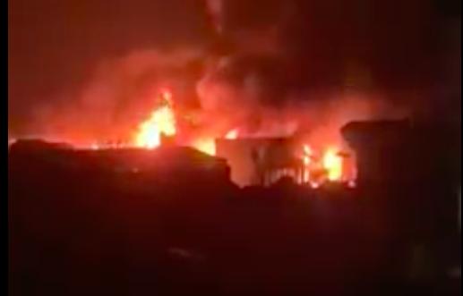 Vụ cháy quan sát từ nhà cao tầng cách hiện trường khoảng 1 km. Ảnh chụp từ video