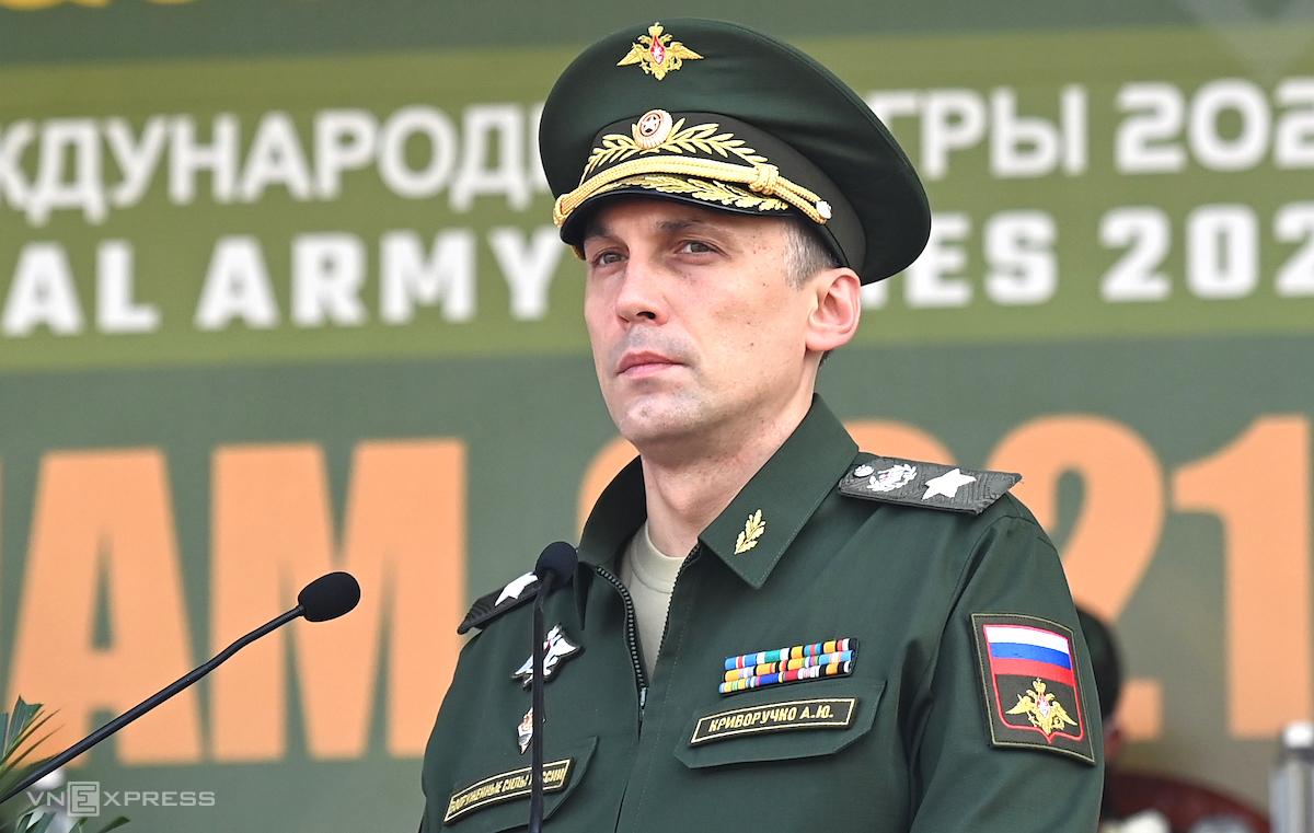 Thứ trưởng Quốc phòng Nga Krivoruchko Aleksei Iurievich phát biểu tại lễ bế mạc Army Games 2021 tại Việt Nam. Ảnh: Giang Huy