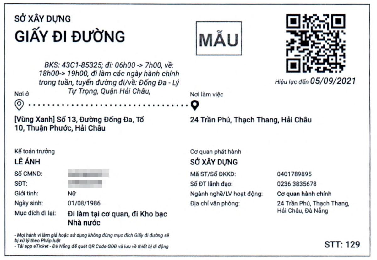 Một mẫu giấy đi đường của Đà Nẵng trong đợt này.