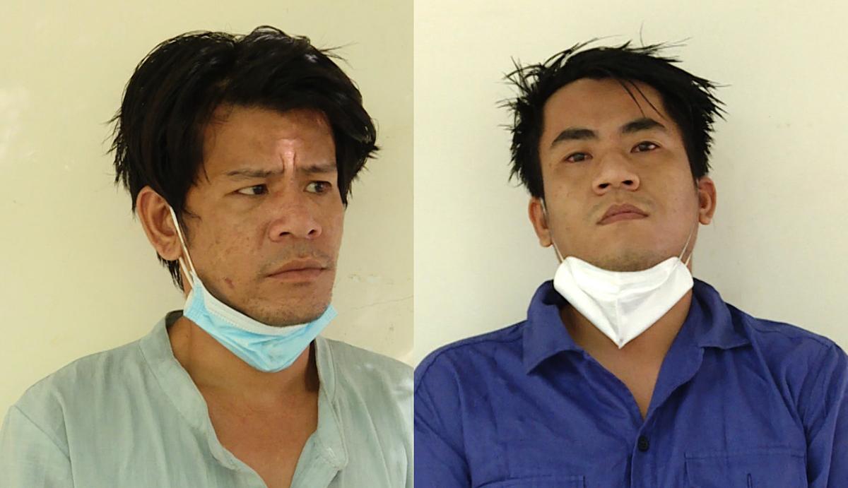 Tươi (trái) và Cường tại Công an huyện Long Điền. Ảnh: Quang Bình