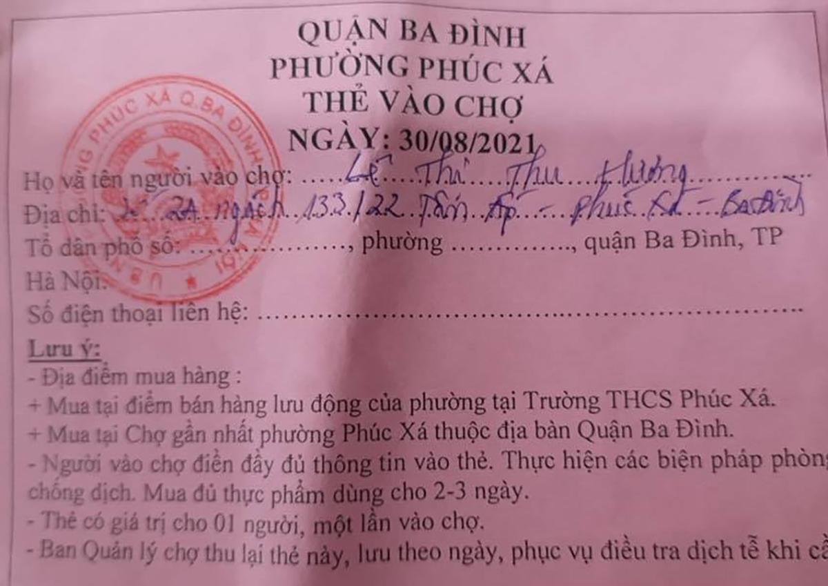 Phiếu đi chợ của Hương. Ảnh: Công an Hà Nội.