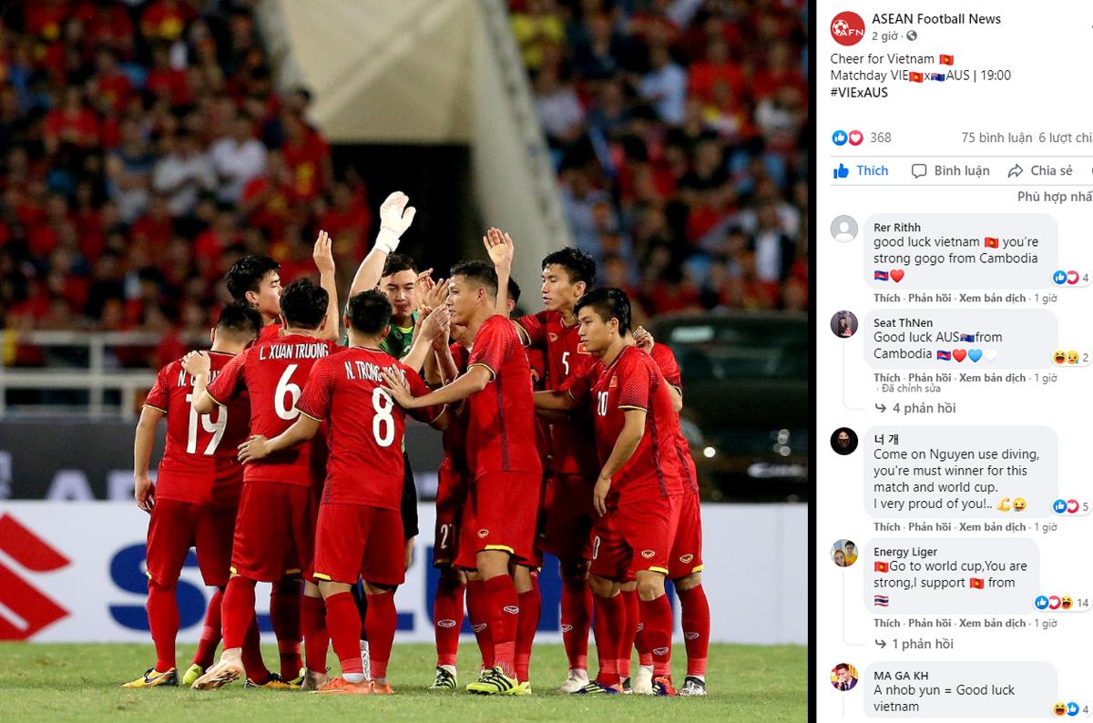 Nhiều fan Đông Nam Á gửi lời chúc may mắn đến ĐTVN.
