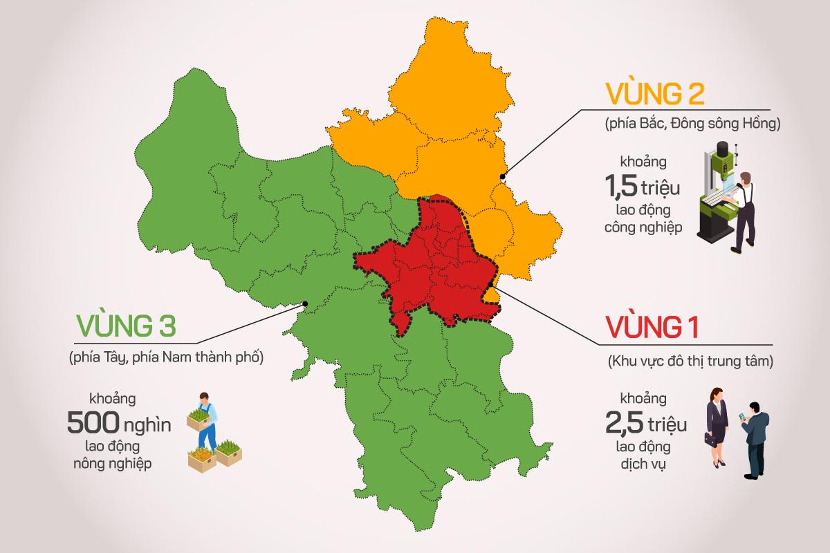 Ba phân vùng chống dịch ở Hà Nội (click để xem chi  tiết). Đồ họa: Tiến Thành