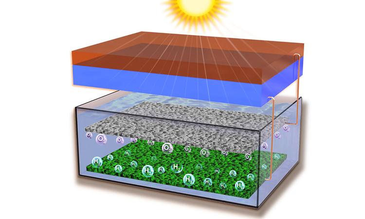Minh họa công nghệ chuyển đổi năng lượng mặt trời thành hydro trực tiếp. Ảnh: ANU