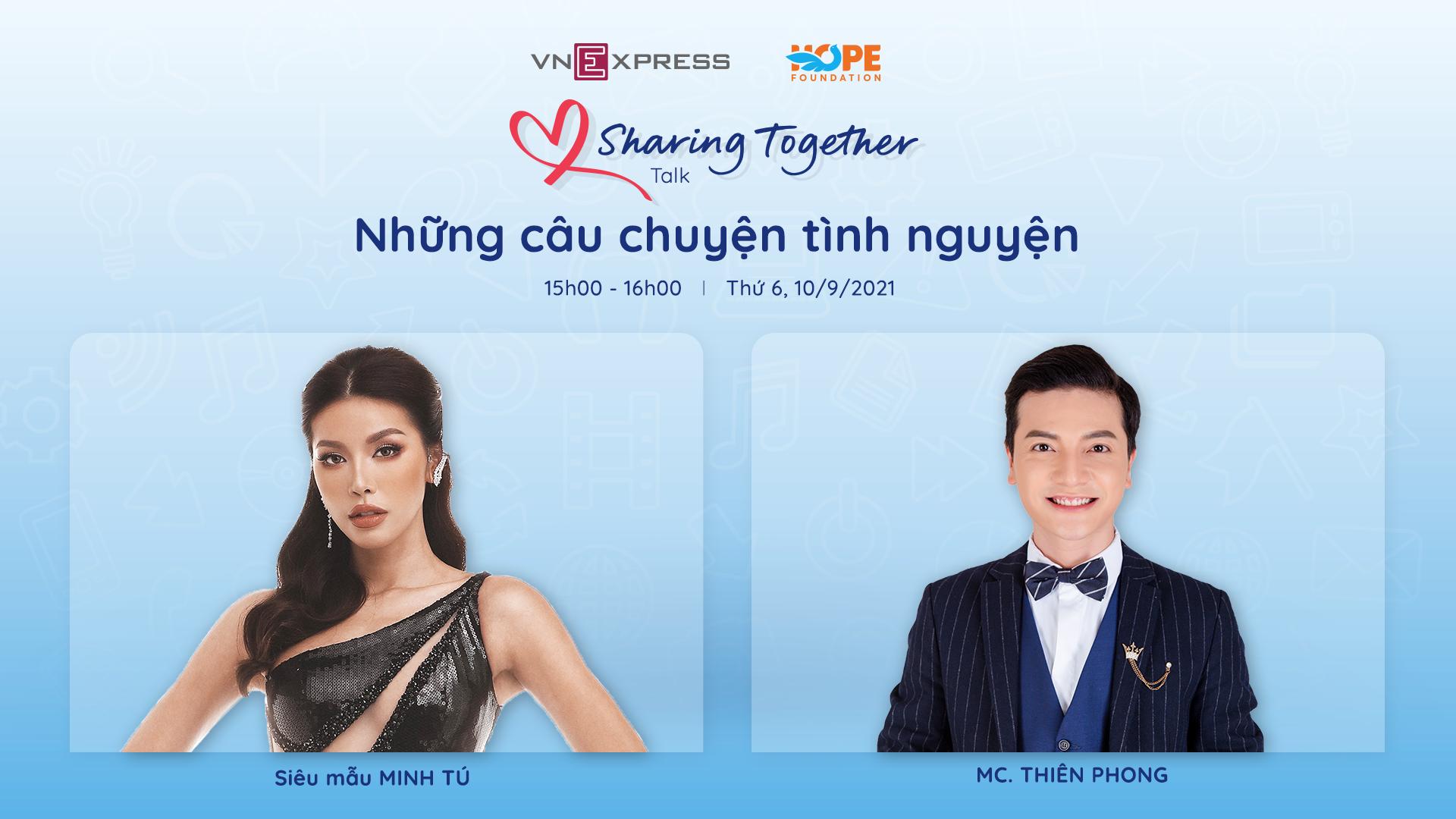 Siêu mẫu Minh Tú (trái) tham gia talkshow cùng MC Thiên Phong.