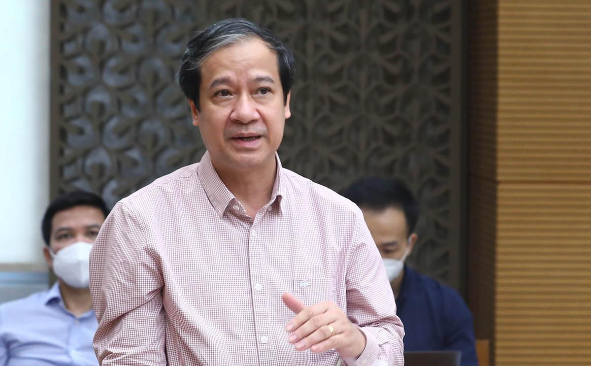 Bộ trường Giáo dục và Đào tạo Nguyễn Kim Sơn chia sẻ tại buổi làm việc với Phó thủ tướng Vũ Đức Đam chiều 8/9. Ảnh: VGP