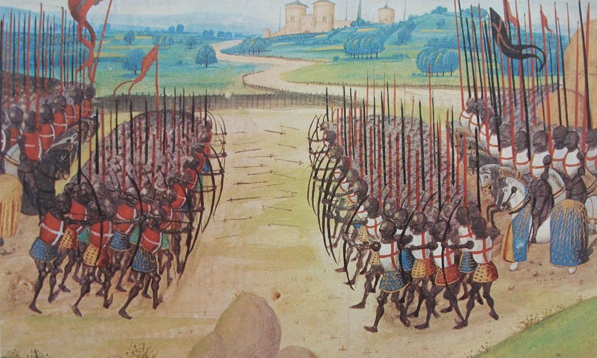 Tranh vẽ mô tả trận Agincourt năm 1415. Ảnh: Musée de larmée.