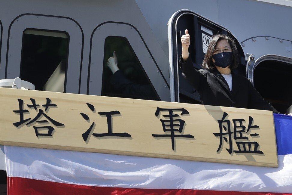 Lãnh đạo Đài Loan Thái Anh Văn tại lễ biên chế hộ vệ hạm Tháp Giang. Ảnh: AP.