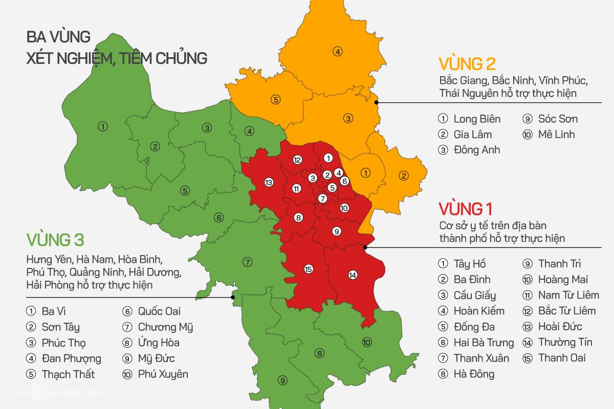 Ba vùng xét nghiệm, tiêm chủng ở Hà Nội. Đồ họa: Tiến Thành
