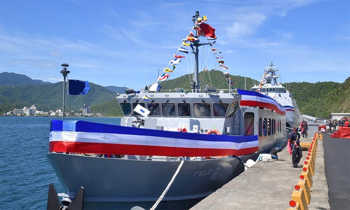 Tàu quét mìn tốc độ cao trong lễ biên chế  tại nhà máy đóng tàu ở thị trấn Tô Áo, đảo Đài Loan ngày 9/9. Ảnh: CNA.