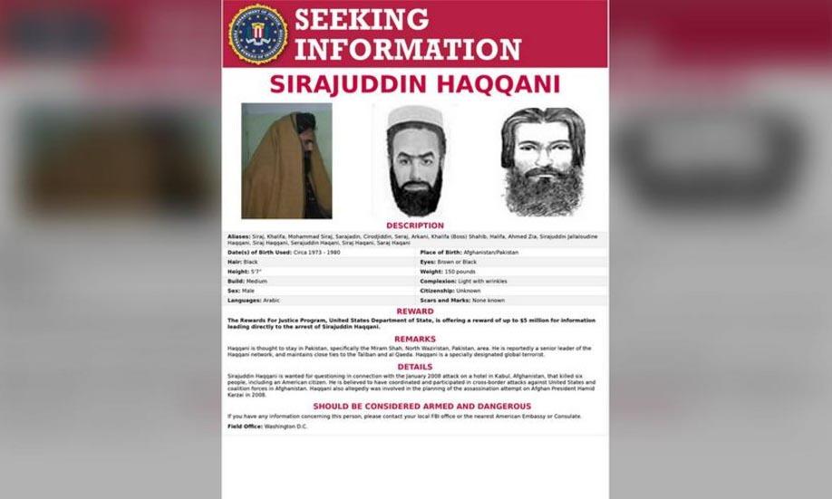 Lệnh truy nã Sirajuddin Haqqani, Bộ trưởng Nội vụ chính quyền lâm thời Afghanistan, của FBI. Ảnh: FBI.