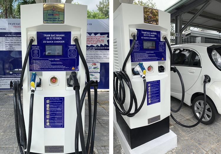 Trạm sạc nhanh cấp 3 hiện được lắp đặt và sử dụng tại một số cây xăng ở Đà Nẵng. Ảnh: Nhóm nghiên cứu