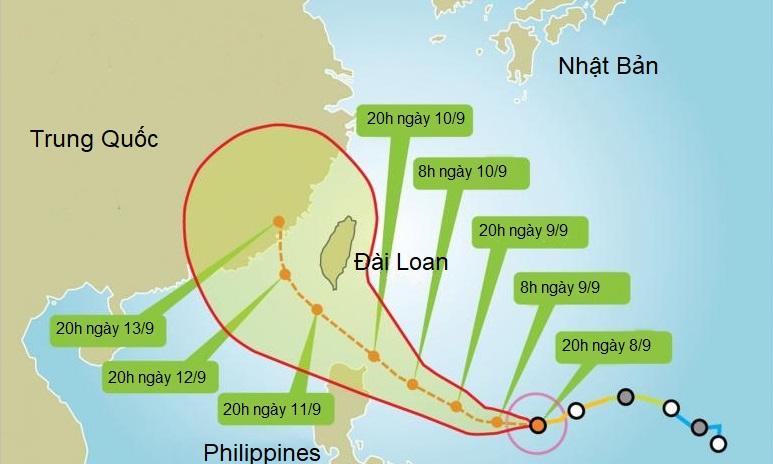 Hướng di chuyển của bão Chanthu theo dự đoán của Cục Thời tiết Đài Loan. Đồ họa: TT