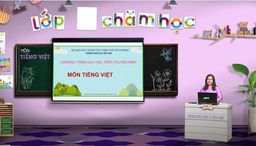 Quá trình sản xuất một chương trình dạy học trên truyền hình. Ảnh: HTV