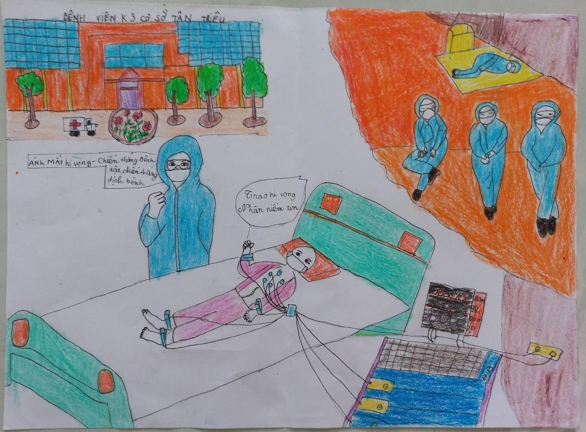 bức tranh mang tên Ánh mắt hy vọng của mình, Hoàng Linh Trang, 10 tuổi, ở Quảng Bình