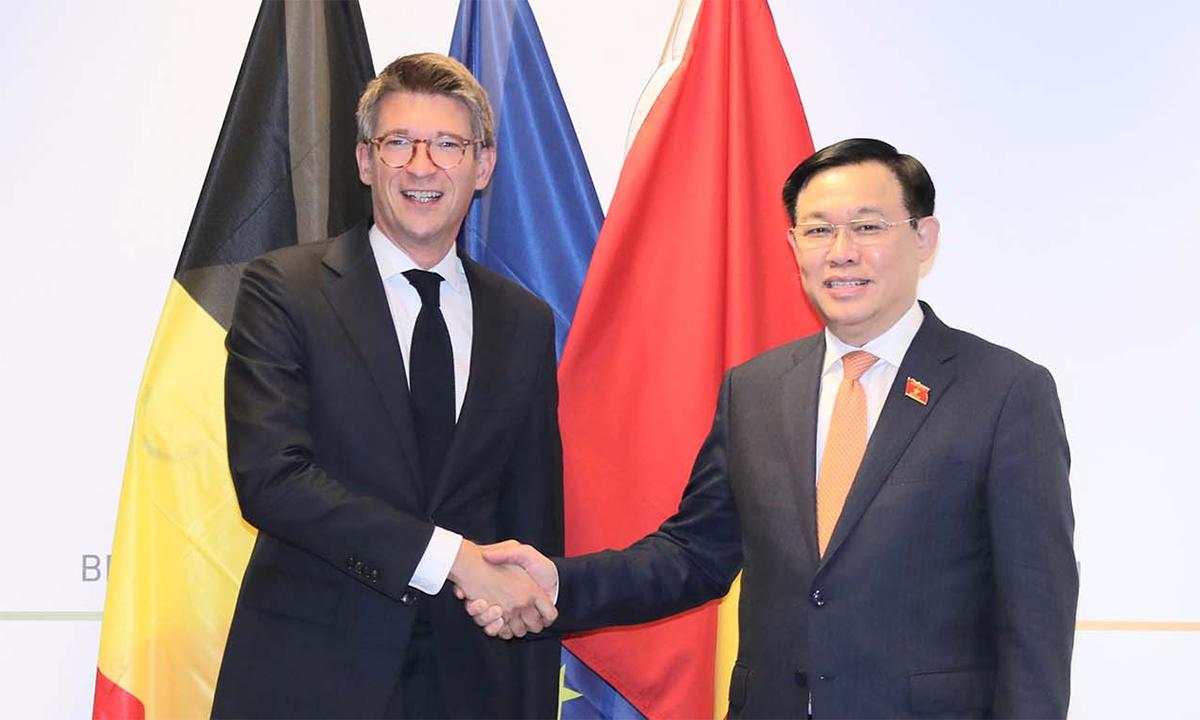 Chủ tịch Quốc hội Vương Đình Huệ gặp Phó Thủ tướng Bỉ Pierre-Yves Dermagne