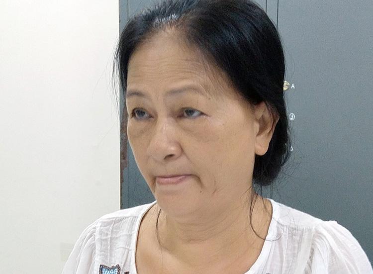 Bà Lê Thị Kim Phi tại cơ quan điều tra. Ảnh: An Phú