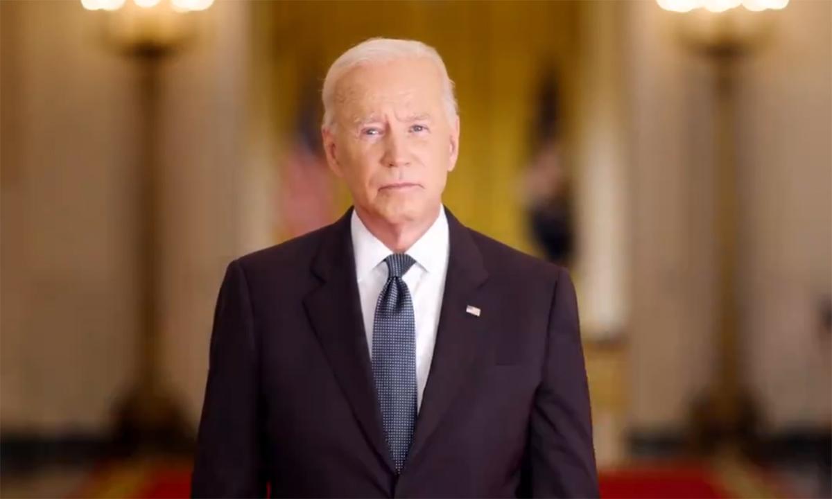 Tổng thống Mỹ Joe Biden phát biểu trong video được Nhà Trắng công bố ngày 10/9. Ảnh chụp màn hình.