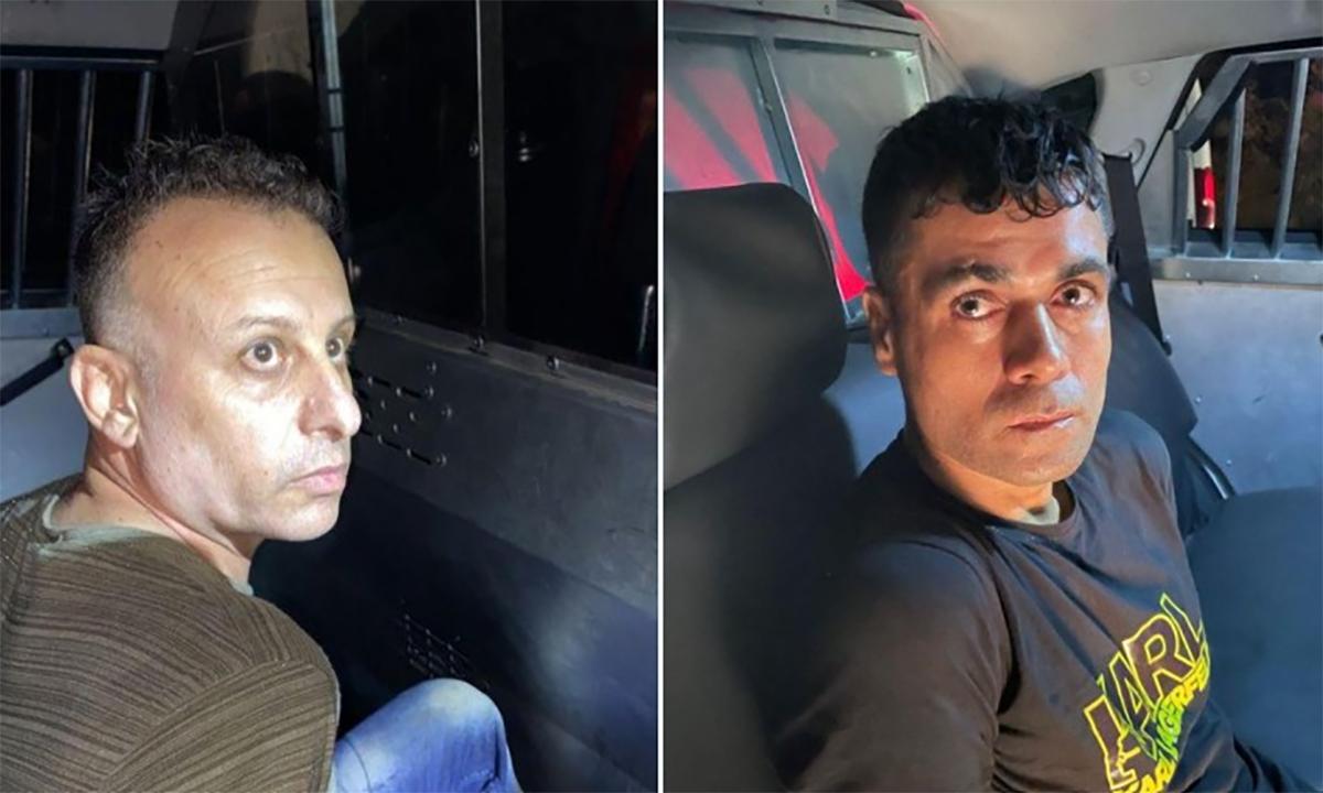 Yaquob Qadiri (trái) và Mahmoud al-Arida (phải) sau khi bị cảnh sát Israel bắt tại thị trấn Nazareth ngày 10/9. Ảnh: Cảnh sát Israel.