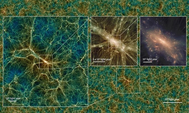 Hào quang vật chất tối trong mô phỏng Uchuu. Ảnh: Tomoaki Ishiyama