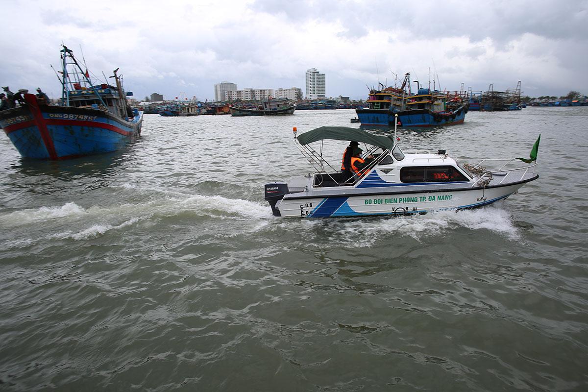 Bộ đội biên phòng Đà Nẵng tuần tra, hướng dẫn các tàu cá ngoại tỉnh vào khu vực riêng ở âu thuyền Thọ Quang để trú tránh bão. Ảnh: Nguyễn Đông.