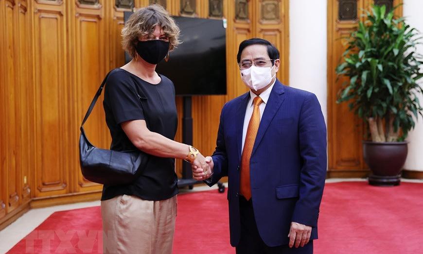Đại sứ Hà Lan (trái) gặp Thủ tướng Phạm Minh Chính tại trụ sở chính phủ chiều 10/9. Ảnh: VGP.