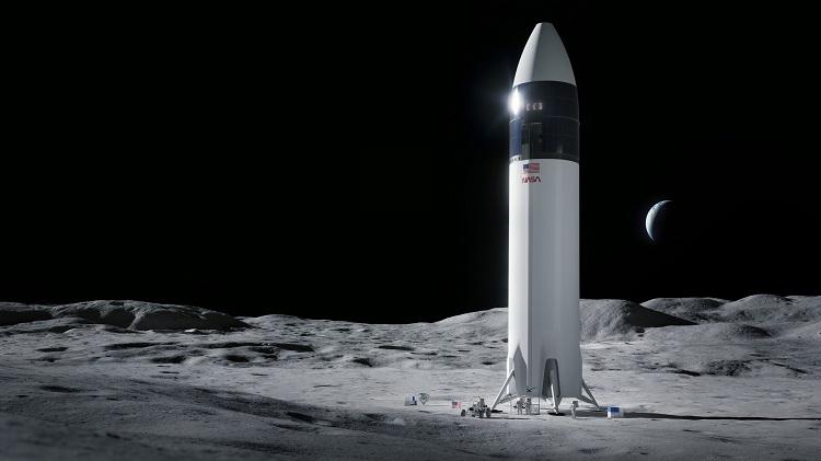 Hình minh họa về tàu đổ bộ Starship của SpaceX trên Mặt Trăng. Ảnh: The Washington Post