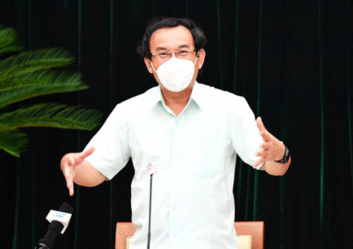 Bí thư Thành ủy Nguyễn Văn Nên phát biểu tại hội nghị Thành ủy TP HCM mở rộng chiều 11/9. Ảnh: SGGP