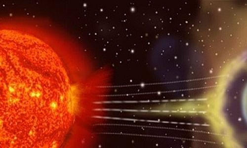 Gió mặt trời bị từ trường Trái Đất làm chệch hướng. Ảnh:NASA.