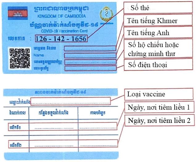 Mẫu thẻ tiêm chủng của Campuchia. Ảnh: ĐSQ Campuchia tại Mỹ.