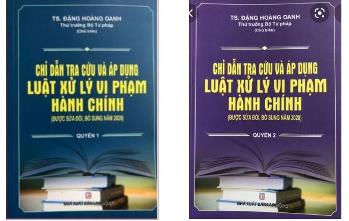 Bìa 2 cuốn sách mạo danh Thứ trưởng Đặng Hoàng Oanh là chủ biên. Ảnh: Bộ Tư pháp