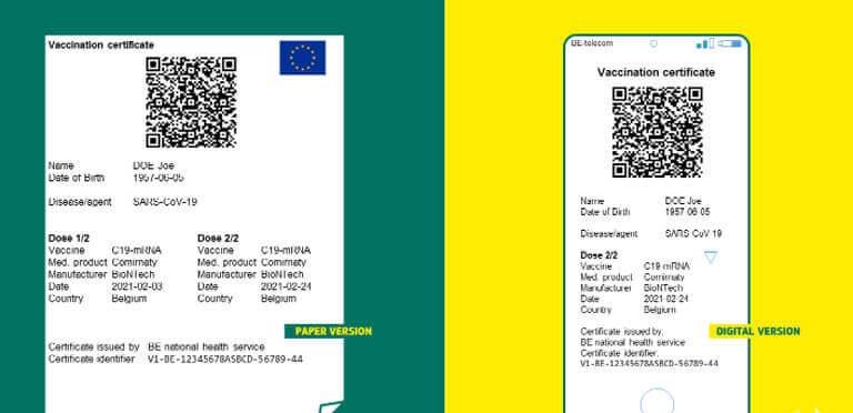 Phiên bản in ra giấy (trái) và bản điện tử của giấy thông hành vaccine tại EU. Ảnh: Schengen Visa Info.