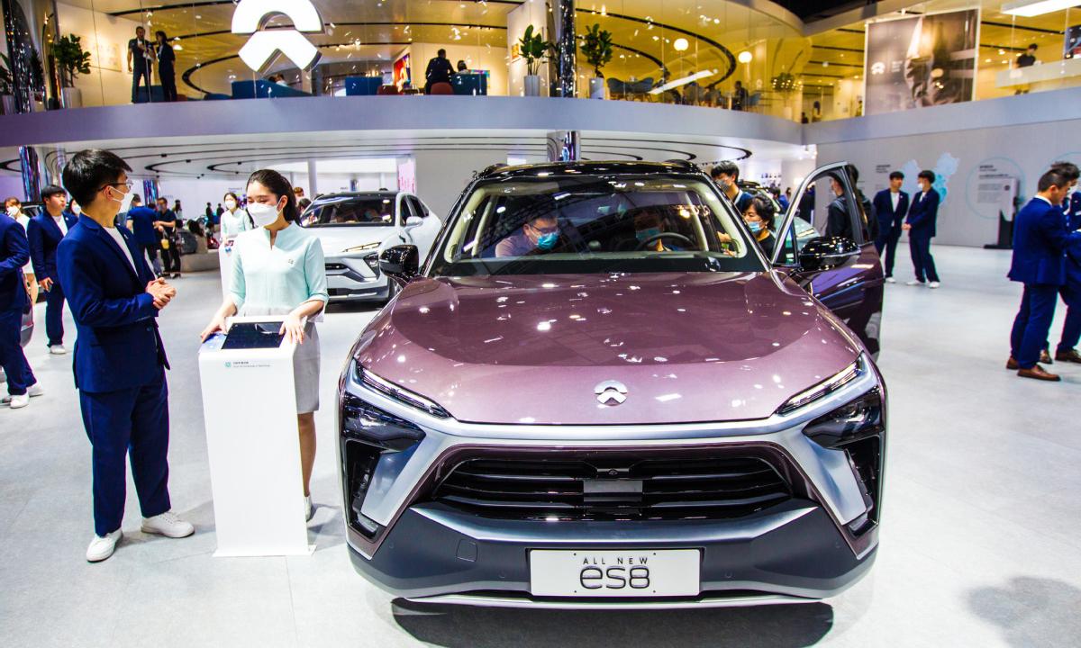 Mẫu xe điện Nio ES8 tại triển lãm ôtô Thượng Hải hồi tháng 4 vừa qua. Ảnh: IC