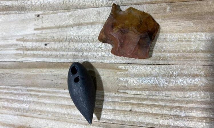 Hai cổ vật có niên đại hàng nghìn năm tuổi trong bụng cá sấu. Ảnh: Red Antler Processing